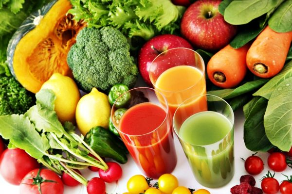 Home Detox Box Natural weight Loss program, Your Body, and Eating-variety-of-fruit-and-veg-and-3-colourful-juices